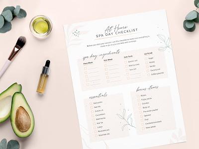 Spa Day Checklist relax checklist print design spaday lip scrub salt soak face mask printable mockup pampering avacado greenery diy hair mask ingredients spa