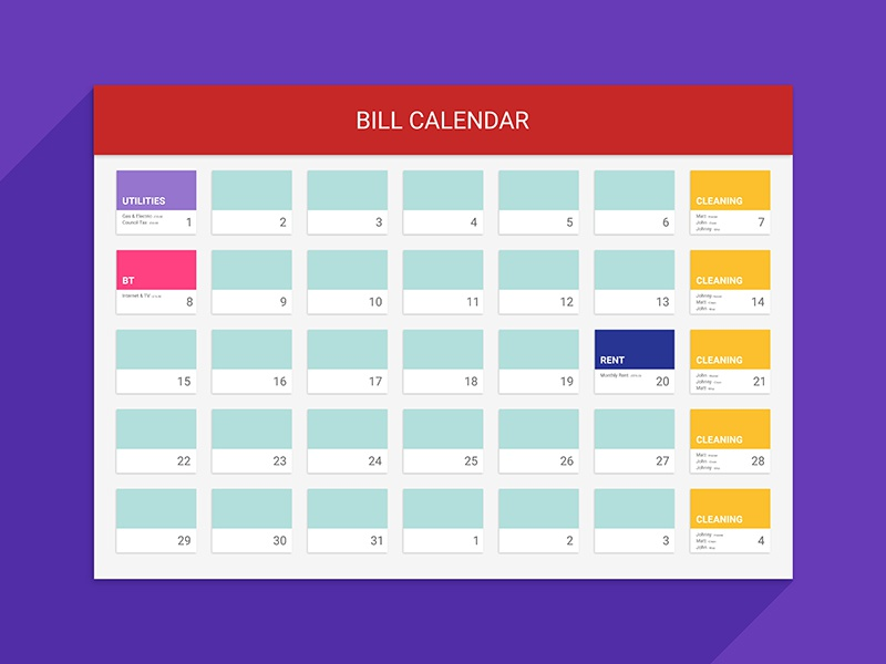 Bill Calendar By Explosive Brands - Dribbble