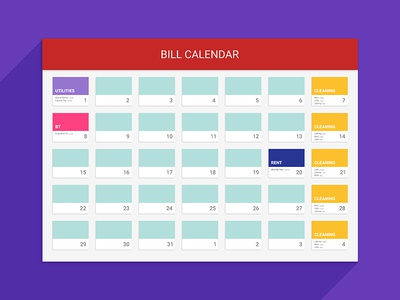 Bill Calendar By Explosive Brands  Dribbble