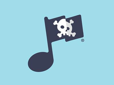 Music Piracy flag pirate piracy skull music note music piracy cross bones
