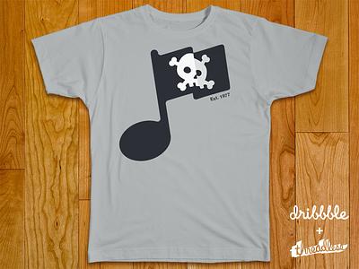 Threadlesss - Music Piracy flag pirate piracy skull music note music piracy bones threadless dribbble tshirt cross bones