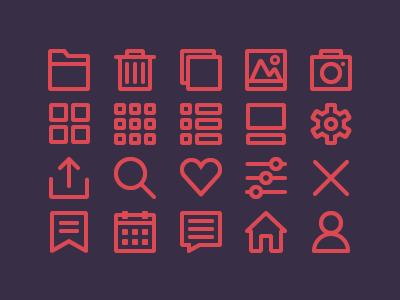 App Icons icons app line icons folder bin camera photo settings calendar discussion bookmark profile
