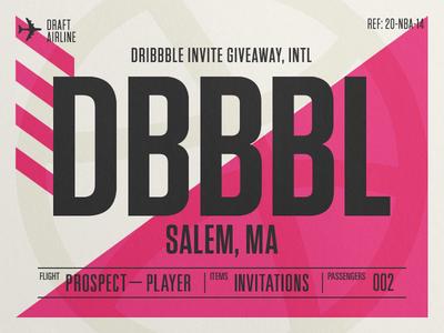 x2 Dribbble Invites dribbble invite dribbble invites flight tag flight ticket ticket