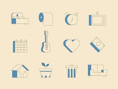 Household Items Icon Set apartment alarm clock calendar microwave halftone line art guitar house icons