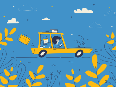 In the Car on Moving Day illustration hand drawn suitcase driving woman car boxes moving