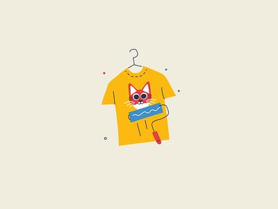 Designing a T-Shirt screen printing paint roller flat design illustration tshirt design tshirt cat hand drawn handdrawn