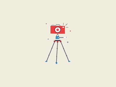 Camera On Tripod monoline illustration hand drawn photography photo tripod dslr camera