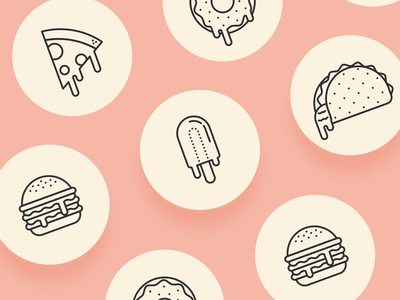 Messy Food Icon Animations animation illustrator after effects food illustration donut cheeseburger pizza icon set icons food