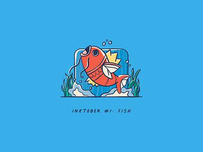 Inktober 2020 #1: Fish handdrawn procreate splash wave pokemon art fish inktober2020 inktober pokemon magikarp