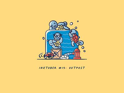 Vectober 2020 #15: Outpost vectober2020 vectober inktober2020 inktober turtles outpost squirtle pokemon procreate illustration