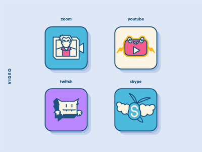 PokéOS App Icons: Video Services icons video illustration vector zoom twitch icon set icon app design app ios fan art pokemon