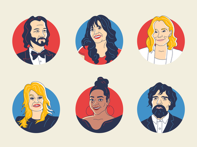 Celebrity Headshot Illustrations actress actor red carpet star famous game of thrones keanu illustration character profile celebrity