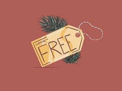 COVID-Free Gift Tag shopping holiday christmas garland wreath procreate gift tag covid19 covid tag