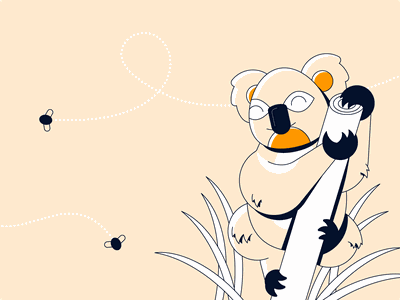 Koala Illustration koala bear grass happy bear climb branch animal koala