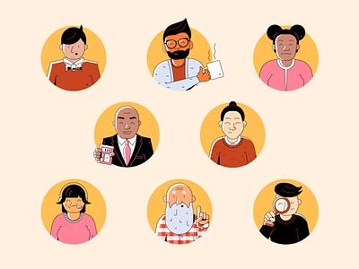 Coworker Profile Illustrations friends women men character human person people employee coworker