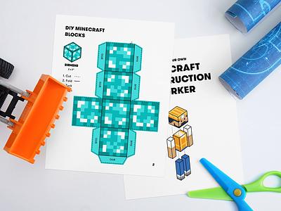 Minecraft Printable & Mockup paper tutorial craft construction diy block print mockup minecraft