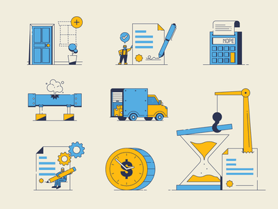 Construction Spot Illustrations spot illustration hourglass time working contract building worker icons construction