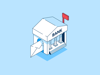 Isometric Bank Letter money spot illustration envelope building mailbox letter bank mail isometric