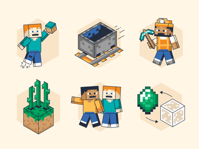 Minecraft Illustrations people video game craft build isometric game art game character block 8bit minecraft