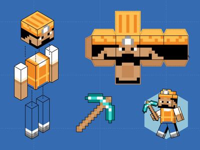 Minecraft Construction Worker game video game print blueprint tool weapon diamond worker construction minecraft