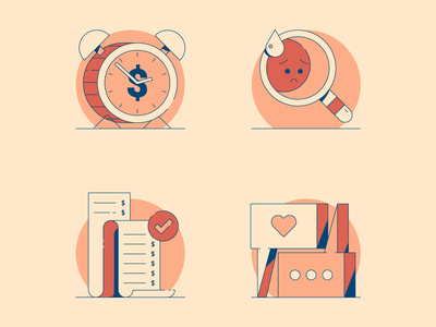 Are You an Emotional Spender? spot illustration icons sad receipt identify clock conversation emotion money spend