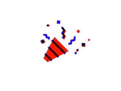 Animated Party Emoji | Bauhaus Style motion graphics 2d animation confetti party birthday bauhaus emoji