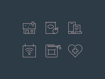 Monthly Expense Icons bills gas groceries illustration icons icon set outline monoline cost expense