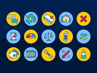Finance Icon Set credit finances cost icon set money law debt financial finance icons finance