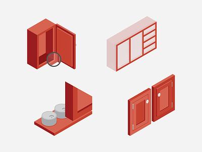 Isometric Cabinet Parts hinge interior architecture interior kitchen cabinetry isometric design isometric icons illustrator isometric cabinet