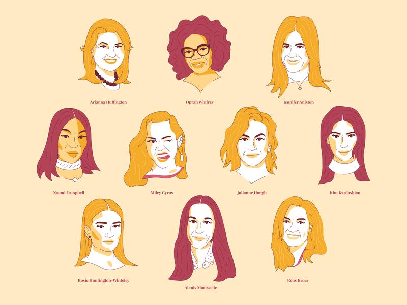 Pop Culture Women miley cyrus oprah ladies famous character illustration pop culture empowerment women empowerment women female