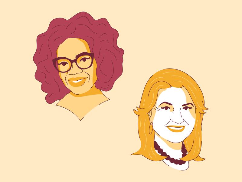 Oprah & Arianna pop culture females women illustration women in illustration women author huffington arianna huffington oprah women fashion womens day women empowerment