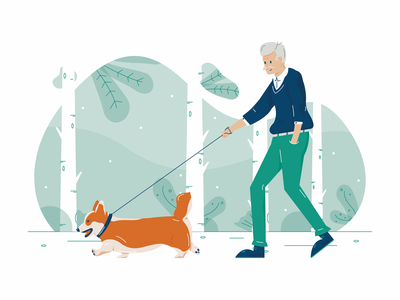 Walking the Dog scene leash stroll grandfather grandparents grandpa walking dog illustration dogs dog