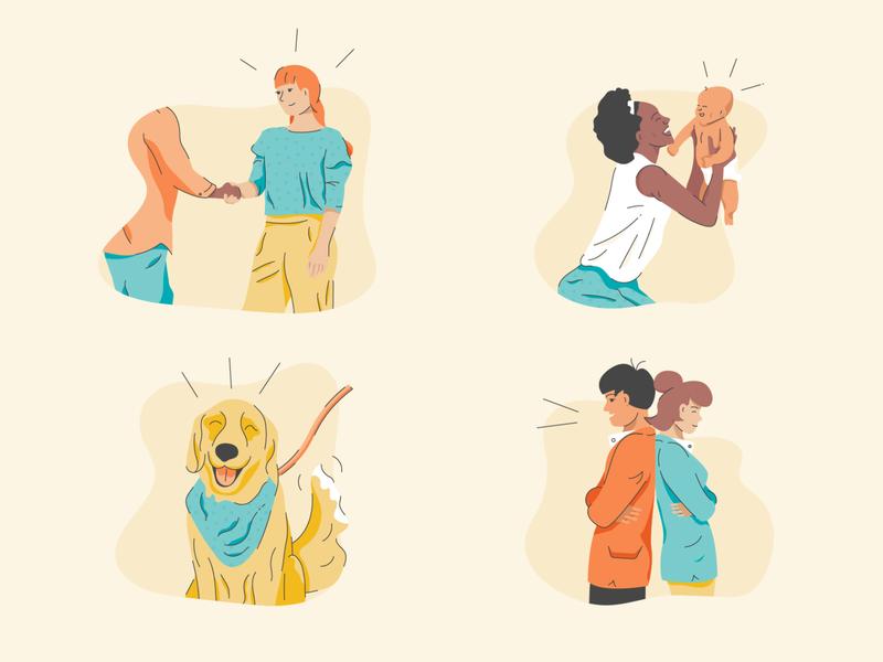 People empowerment women woman handshake shaking hands baby golden retriever dog people illustration people