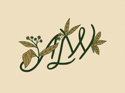 Plant Monogram script plant logo leaves plants lettering logo initials monogram