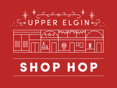Elgin Shop Hop festive retail shopping holidays christmas illustration graphic design design