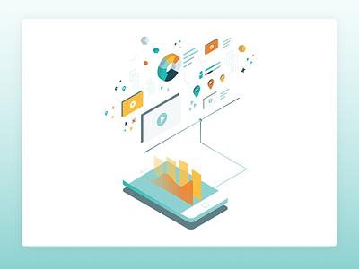 Data Isometric tech illustration data cloud mobile phone isometric data