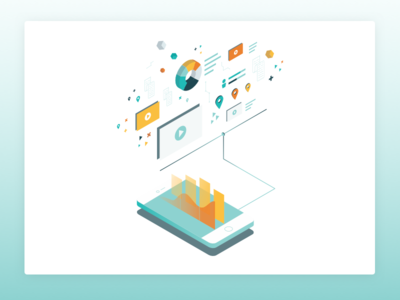 Data Isometric tech illustration data cloud mobile phone isometric data