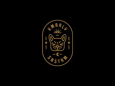 Kimberly Sunstrum Badge moon sun french bulldog dog musician band merch logo badge