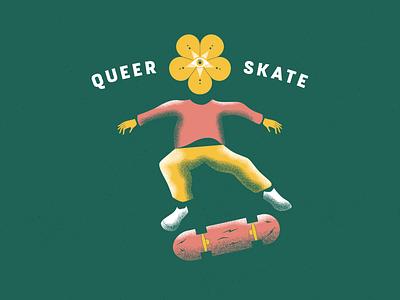 Queer Skate texture hands summer skate human flower pride queer skateboard