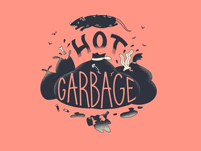 Hot Garbo lettering summer city rats trash illustration