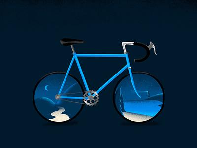 Steve the Bike blue texture bicycle bike summer moon design graphic design illustration