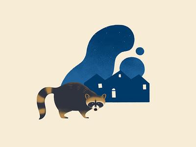 Starry Sneak wip stars night animal raccoon vector texture design illustration