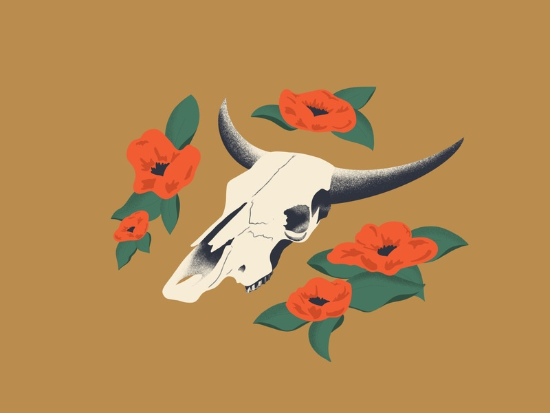 Longhorn Skull desert texas flower skeleton skull floral texture design illustration