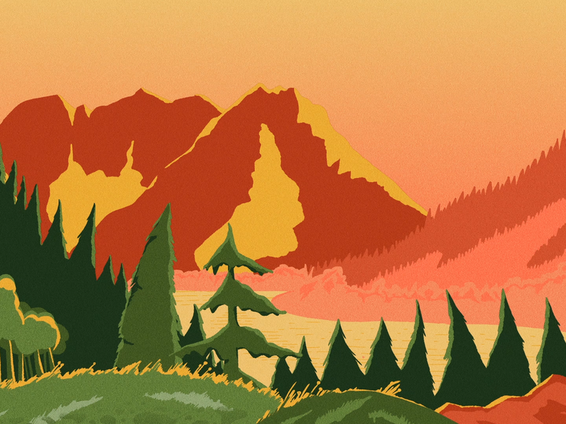 Mountain Sunrise illustration lake forest landscape nature adventure sun sunrise mountain
