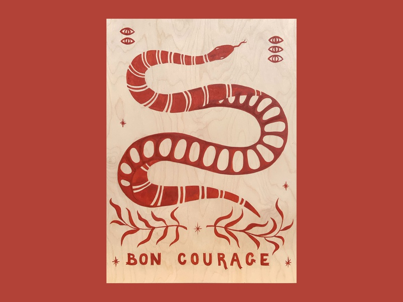 Bon Courage plants nature illustration drawing handlettering lettering snake painting