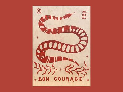 Bon Courage plants nature illustration drawing handlettering lettering snake painting