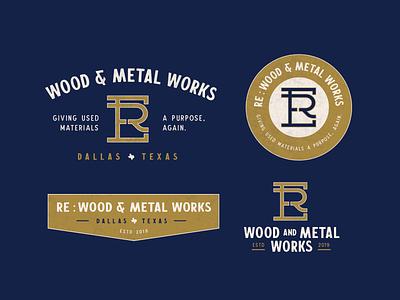 RE Wood & Metal Works — Brand Concept navy gold branding logo badge vintage woodworking metal wood