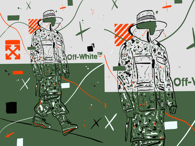 OFF WHITE SKETCH urban art lookbook painting drawing sketch army model mode illustration