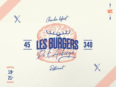 LOGO BURGERS AUBERGE illustration ill logo branding eat restaurant potatoes open porn food food burger