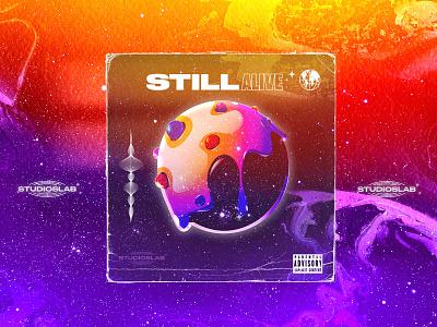 CD STILL ALIVE music urbain colors galaxy illustration cake space typography album cd logo